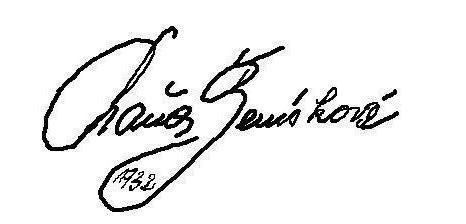 Velmi vzácný autogram Máni Ženíškové